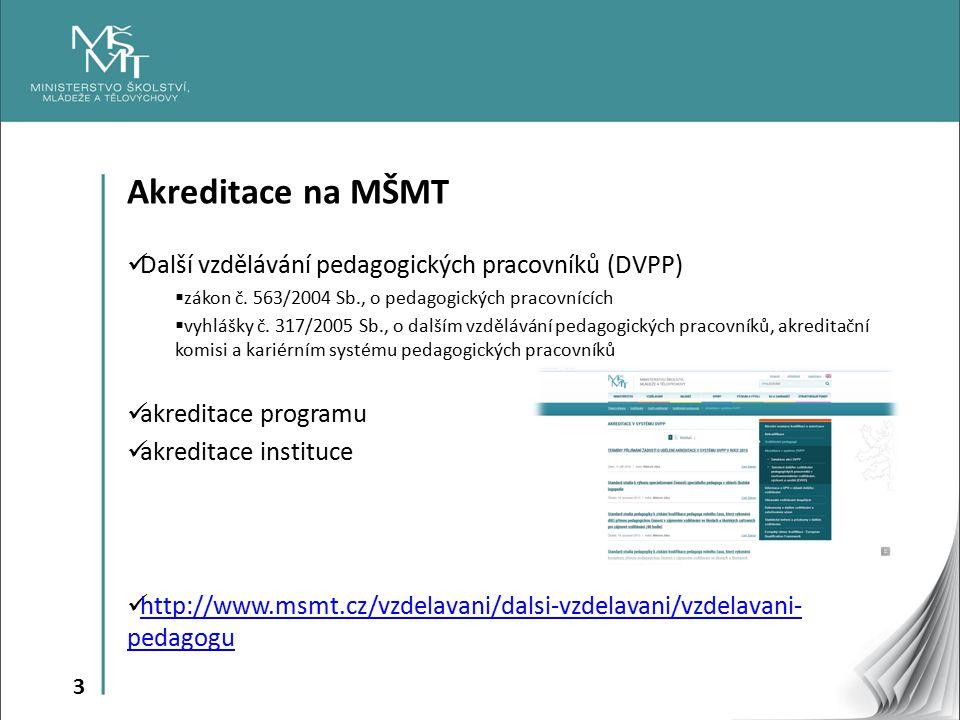 Akreditace na MŠMT Další vzdělávání pedagogických pracovníků (DVPP)