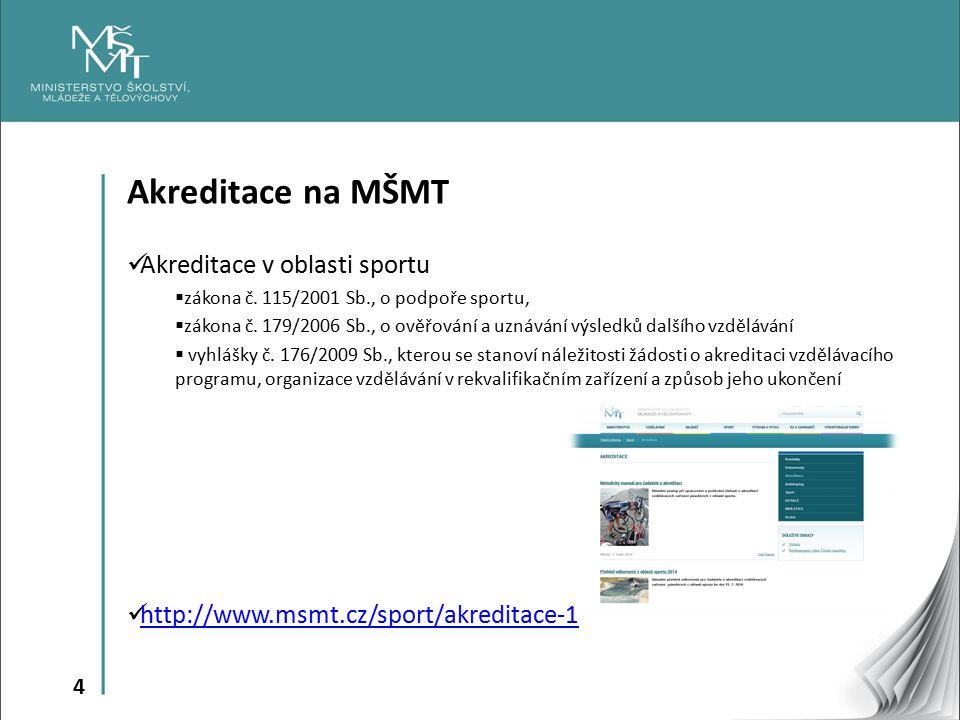 Akreditace na MŠMT Akreditace v oblasti sportu