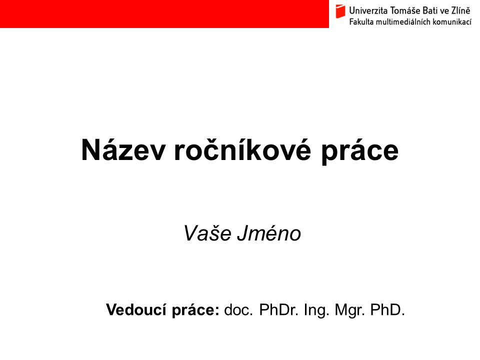 Vedoucí práce: doc. PhDr. Ing. Mgr. PhD.