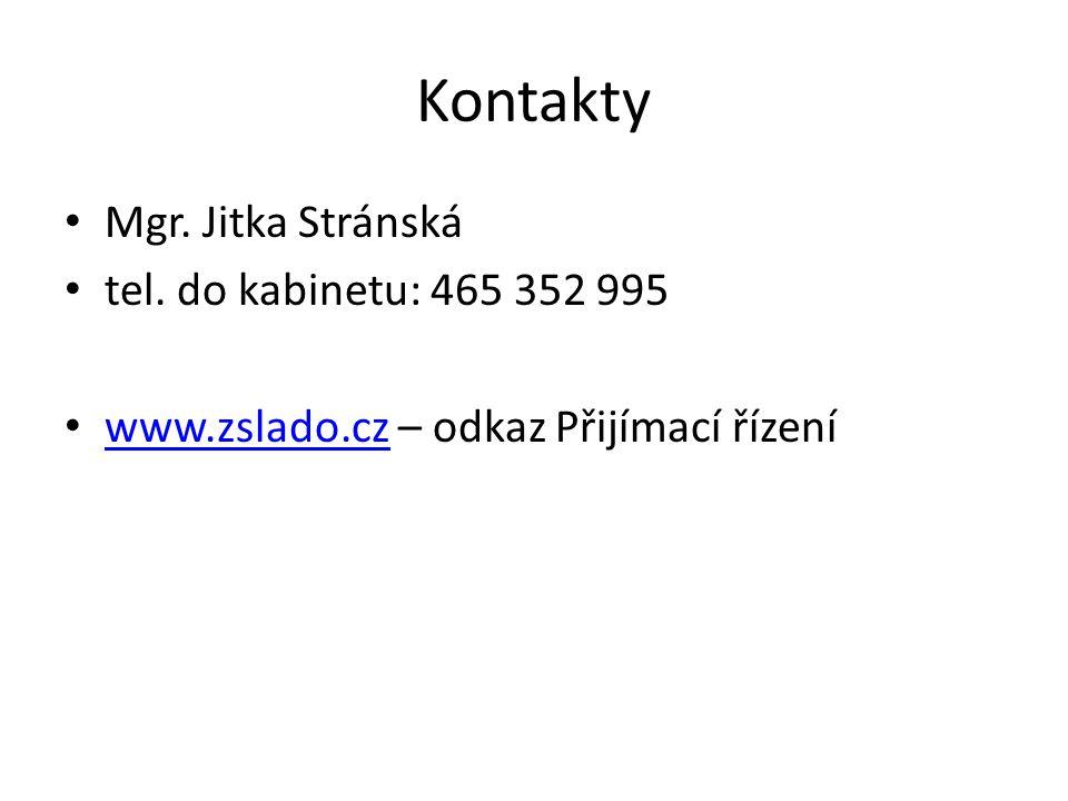 Kontakty Mgr. Jitka Stránská tel. do kabinetu: 465 352 995
