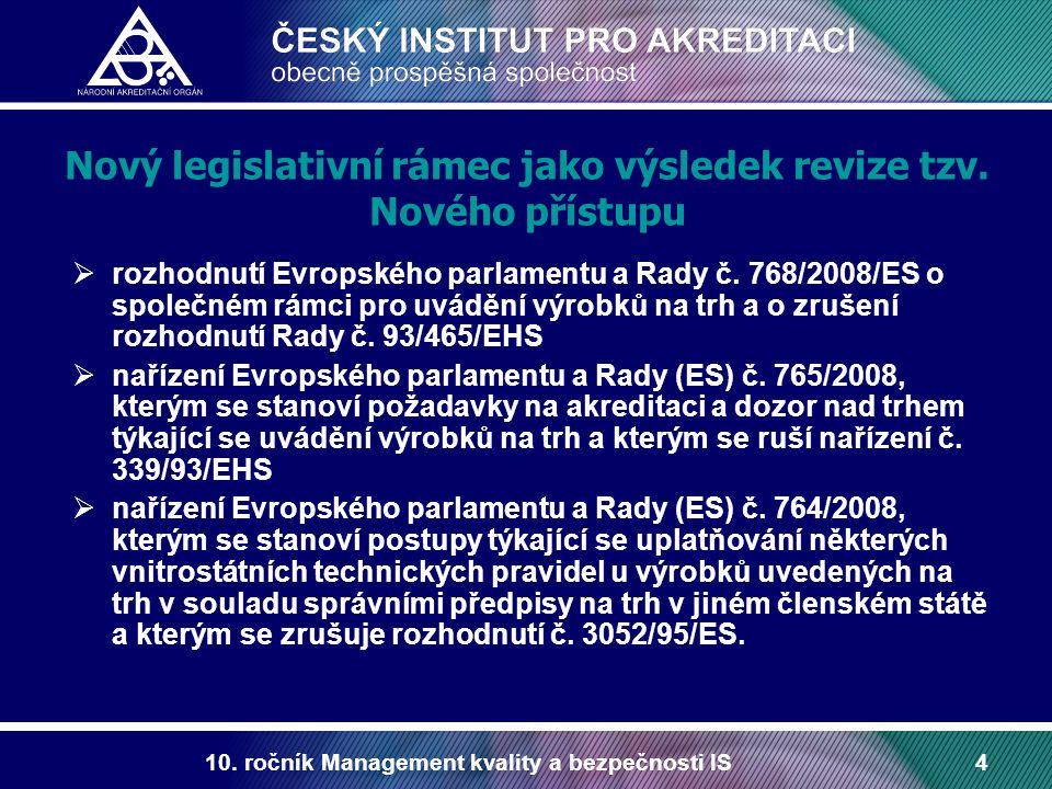 Nový legislativní rámec jako výsledek revize tzv. Nového přístupu