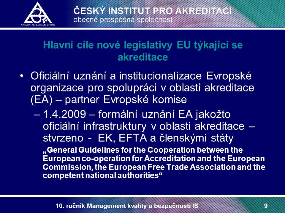 Hlavní cíle nové legislativy EU týkající se akreditace