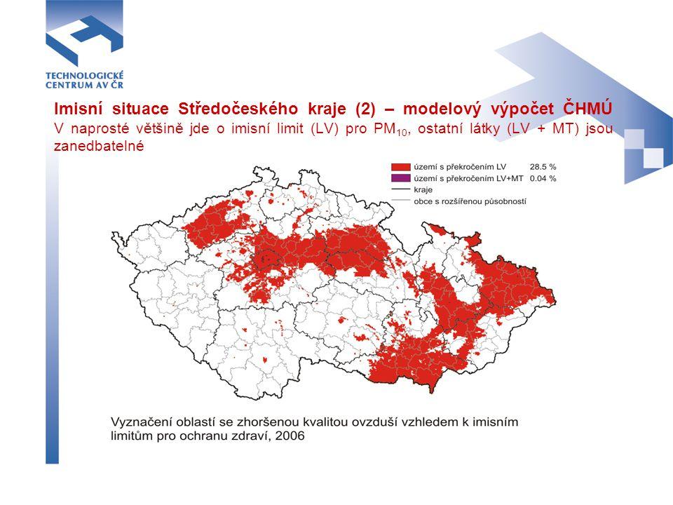 Imisní situace Středočeského kraje (2) – modelový výpočet ČHMÚ V naprosté většině jde o imisní limit (LV) pro PM10, ostatní látky (LV + MT) jsou zanedbatelné