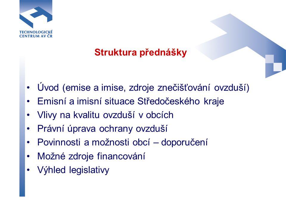 Struktura přednášky Úvod (emise a imise, zdroje znečišťování ovzduší) Emisní a imisní situace Středočeského kraje.