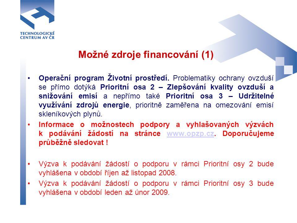 Možné zdroje financování (1)