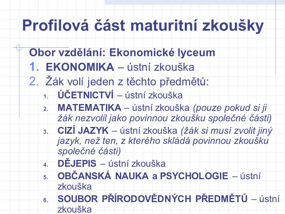 Profilová část maturitní zkoušky