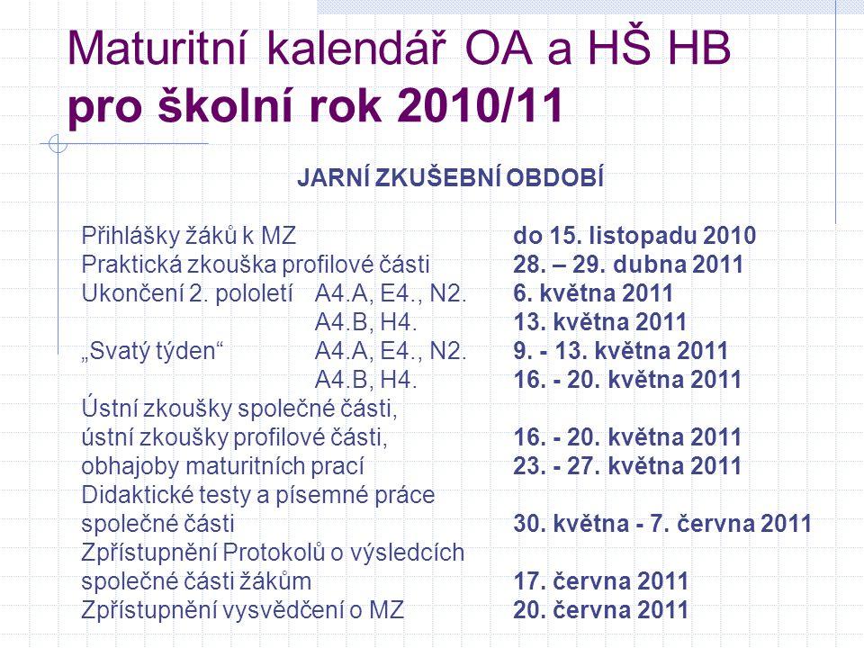 Maturitní kalendář OA a HŠ HB pro školní rok 2010/11