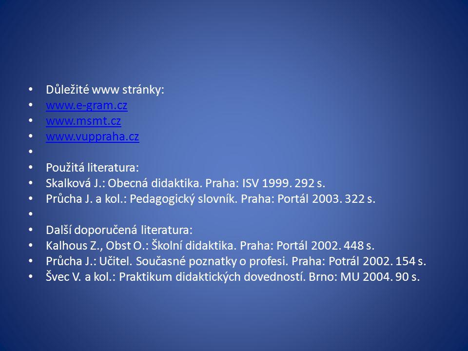 Důležité www stránky: www.e-gram.cz. www.msmt.cz. www.vuppraha.cz. Použitá literatura: Skalková J.: Obecná didaktika. Praha: ISV 1999. 292 s.