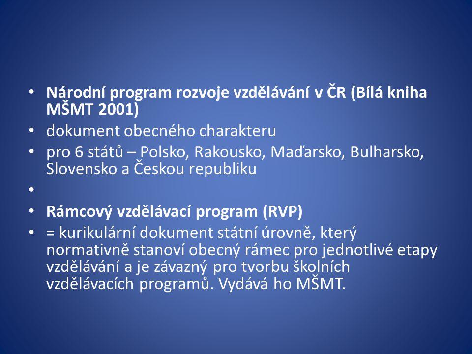 Národní program rozvoje vzdělávání v ČR (Bílá kniha MŠMT 2001)