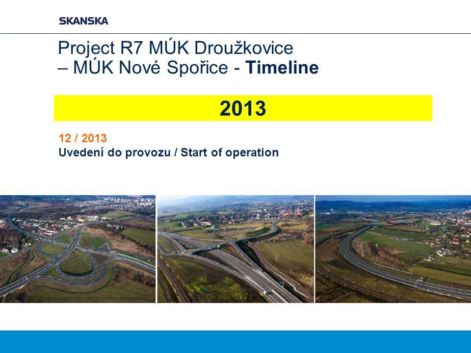Project R7 MÚK Droužkovice – MÚK Nové Spořice - Timeline
