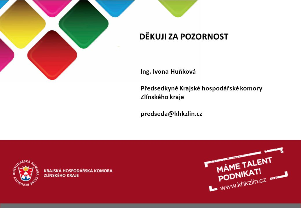 DĚKUJI ZA POZORNOST Ing. Ivona Huňková