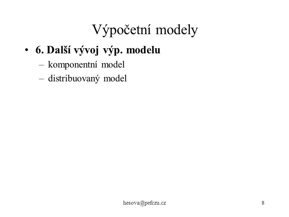 Výpočetní modely 6. Další vývoj výp. modelu komponentní model
