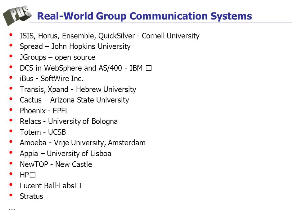 Real-World Group Communication Systems