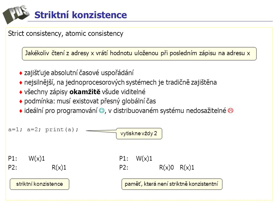 Striktní konzistence Strict consistency, atomic consistency