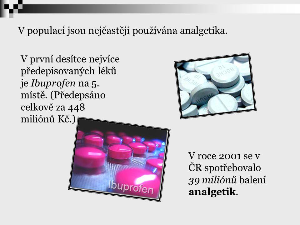 V populaci jsou nejčastěji používána analgetika.