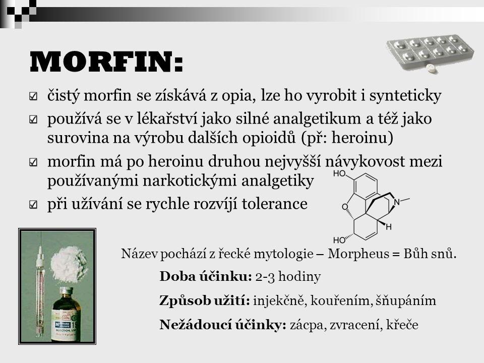 MORFIN: čistý morfin se získává z opia, lze ho vyrobit i synteticky