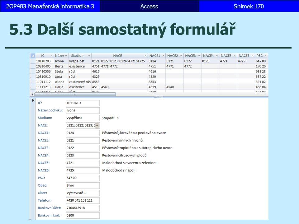 5.3 Další samostatný formulář