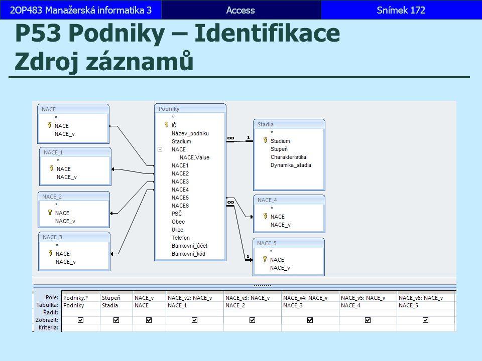 P53 Podniky – Identifikace Zdroj záznamů