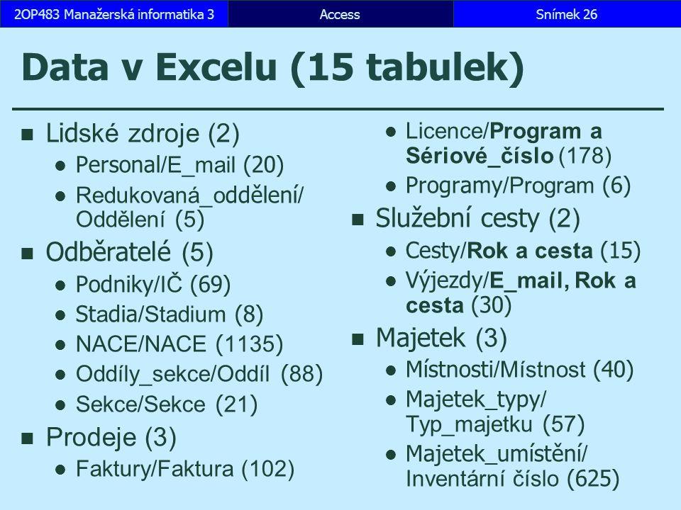 Data v Excelu (15 tabulek)