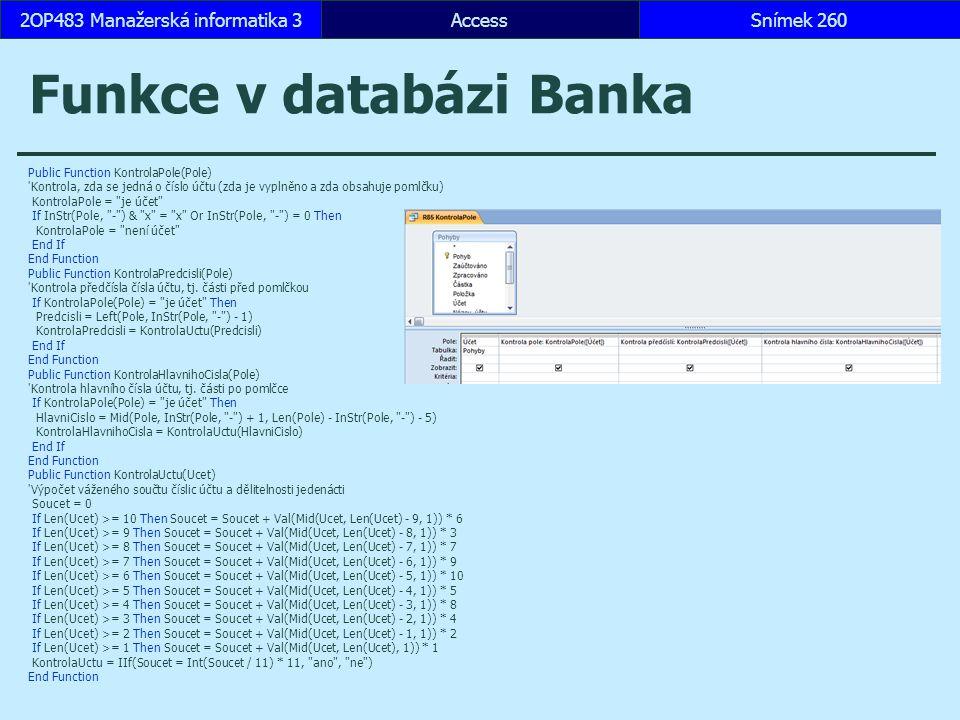 Funkce v databázi Banka