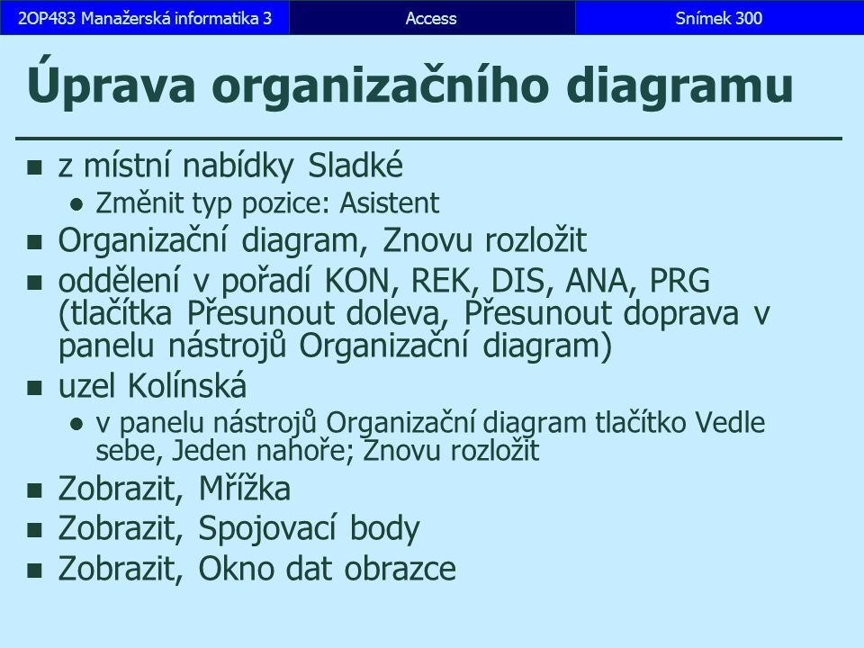 Úprava organizačního diagramu