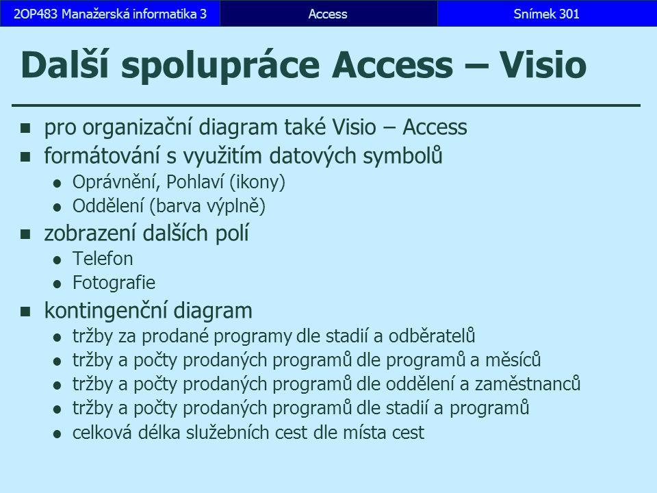 Další spolupráce Access – Visio