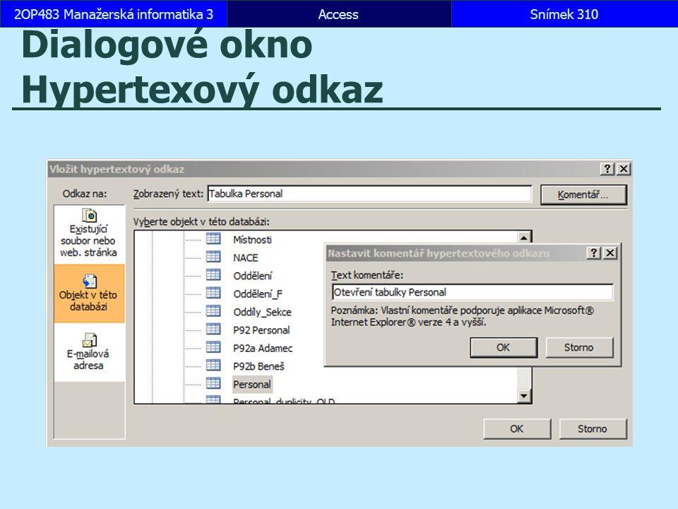 Dialogové okno Hypertexový odkaz