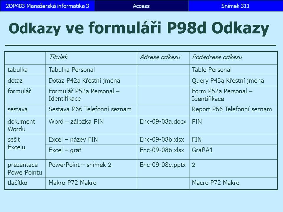 Odkazy ve formuláři P98d Odkazy