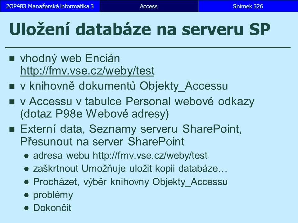Uložení databáze na serveru SP