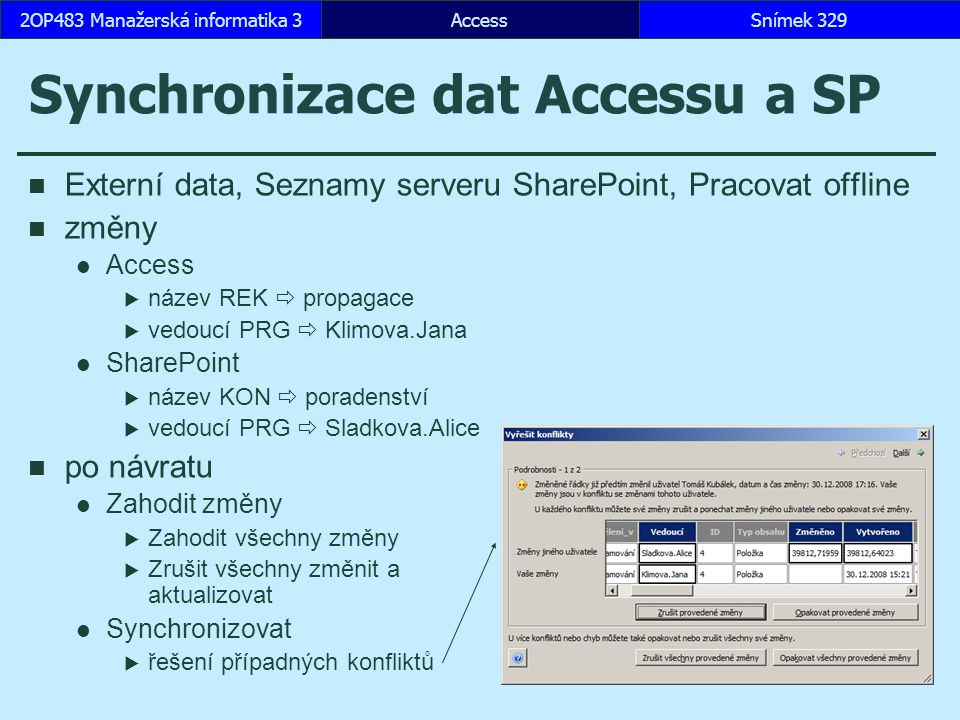 Synchronizace dat Accessu a SP