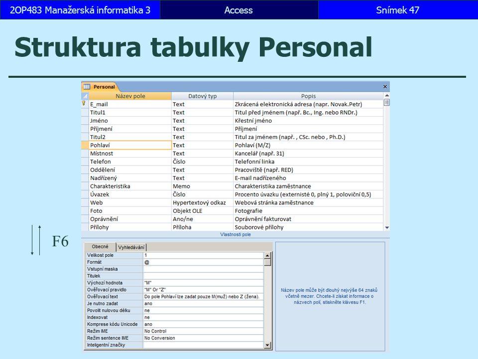 Struktura tabulky Personal
