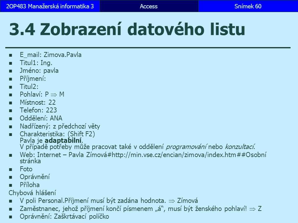 3.4 Zobrazení datového listu