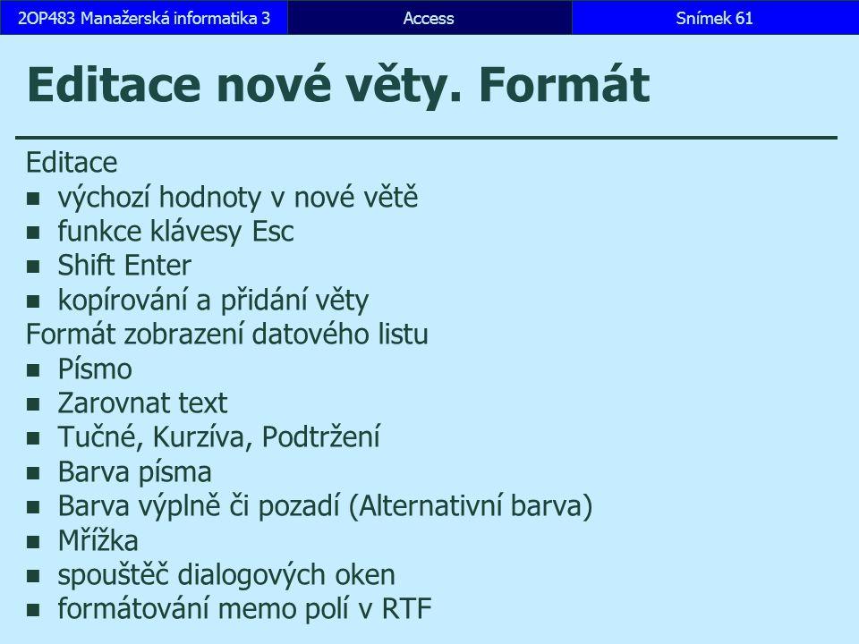 Editace nové věty. Formát