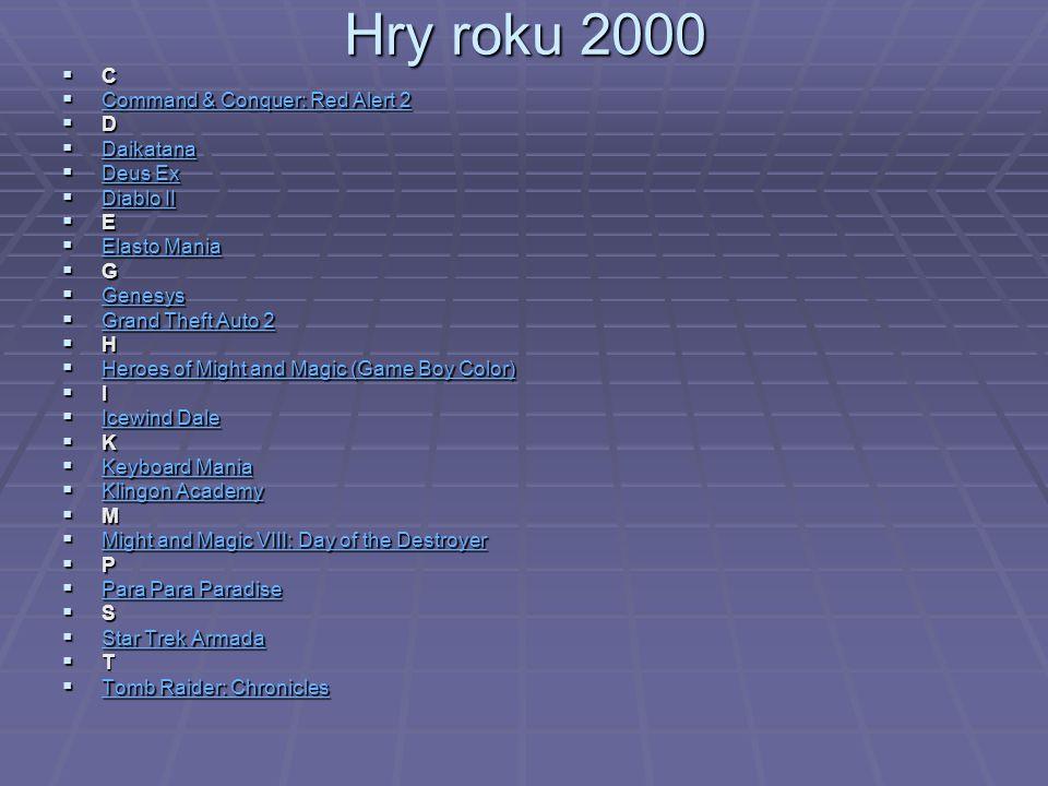 Hry roku 2000 C Command & Conquer: Red Alert 2 D Daikatana Deus Ex