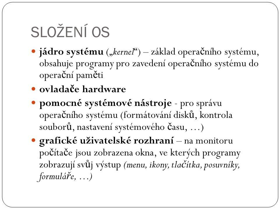 """SLOŽENÍ OS jádro systému (""""kernel ) – základ operačního systému, obsahuje programy pro zavedení operačního systému do operační paměti."""