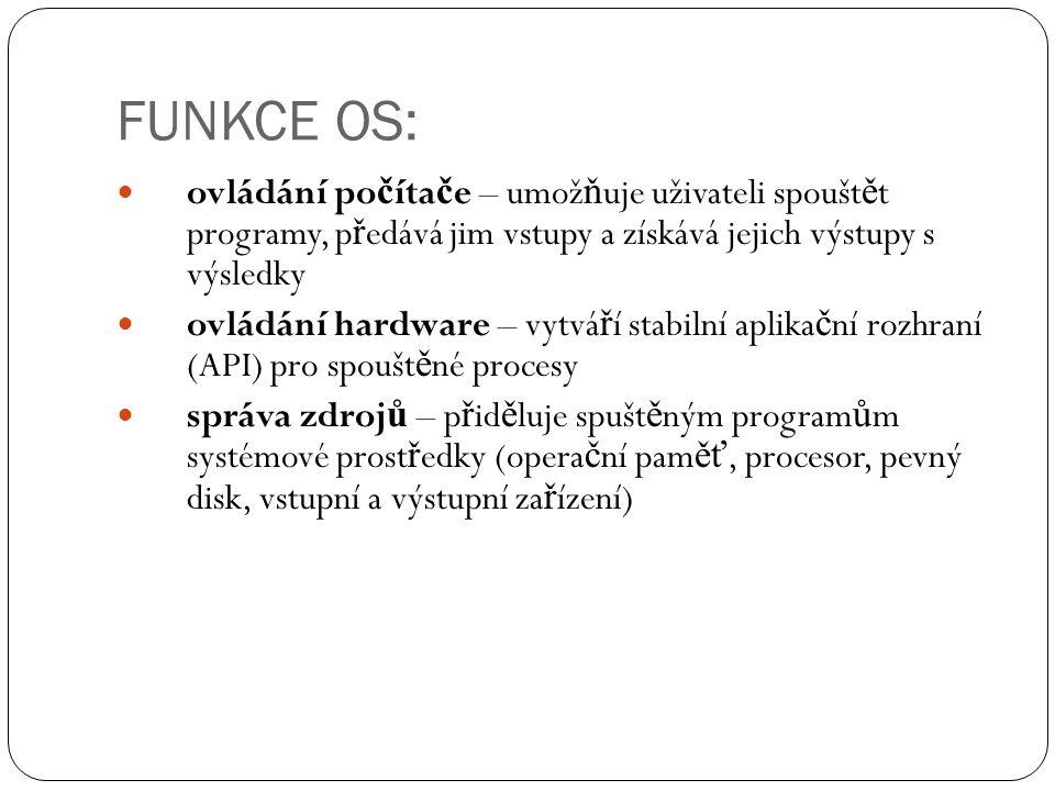 FUNKCE OS: ovládání počítače – umožňuje uživateli spouštět programy, předává jim vstupy a získává jejich výstupy s výsledky.