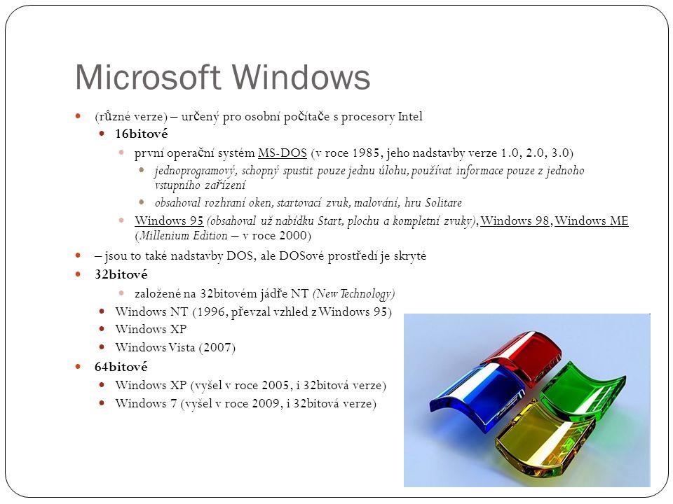 Microsoft Windows (různé verze) – určený pro osobní počítače s procesory Intel. 16bitové.