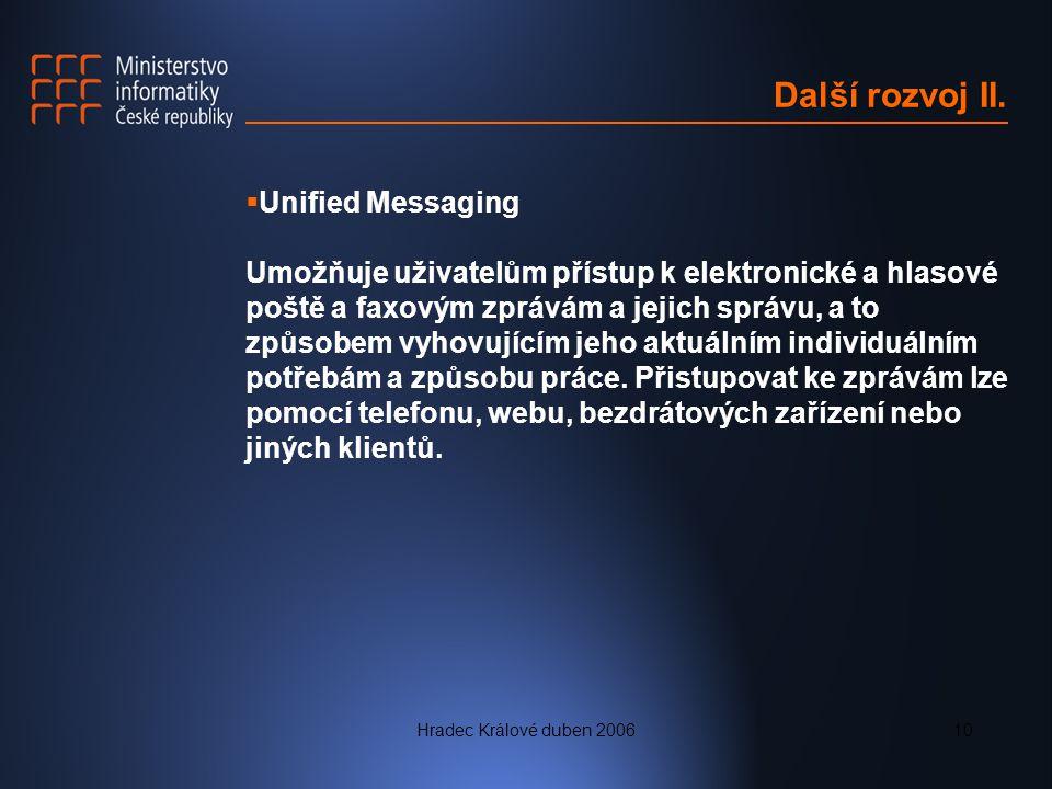 Další rozvoj II. Unified Messaging