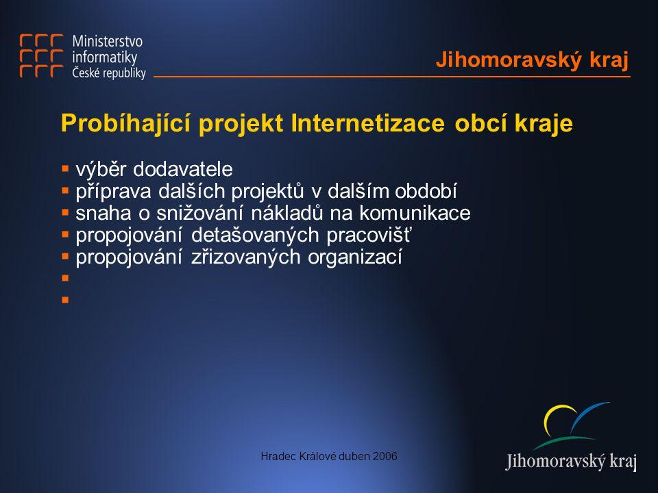 Probíhající projekt Internetizace obcí kraje