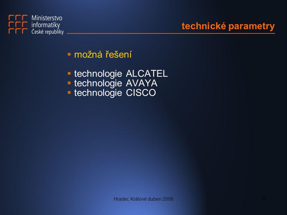 technické parametry možná řešení technologie ALCATEL technologie AVAYA