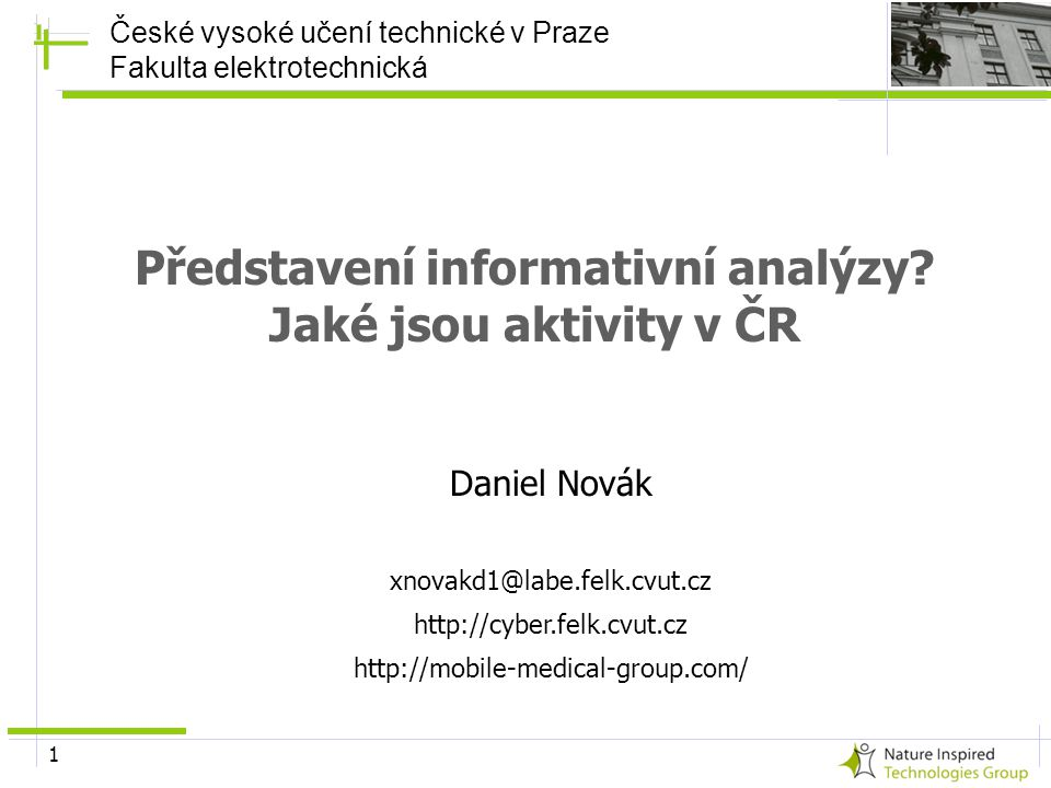Představení informativní analýzy Jaké jsou aktivity v ČR