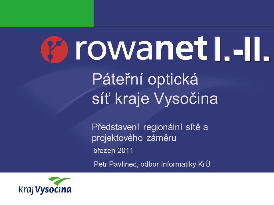 I.-II. Páteřní optická síť kraje Vysočina Představení regionální sítě a projektového záměru. březen 2011.