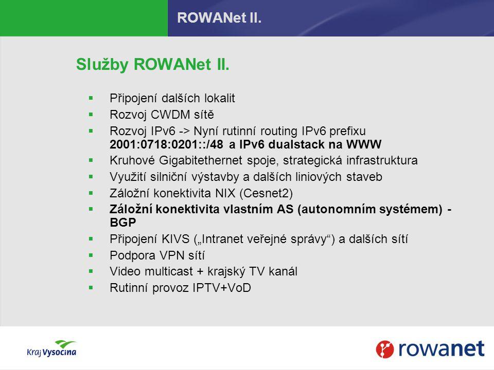 Služby ROWANet II. ROWANet II. Připojení dalších lokalit