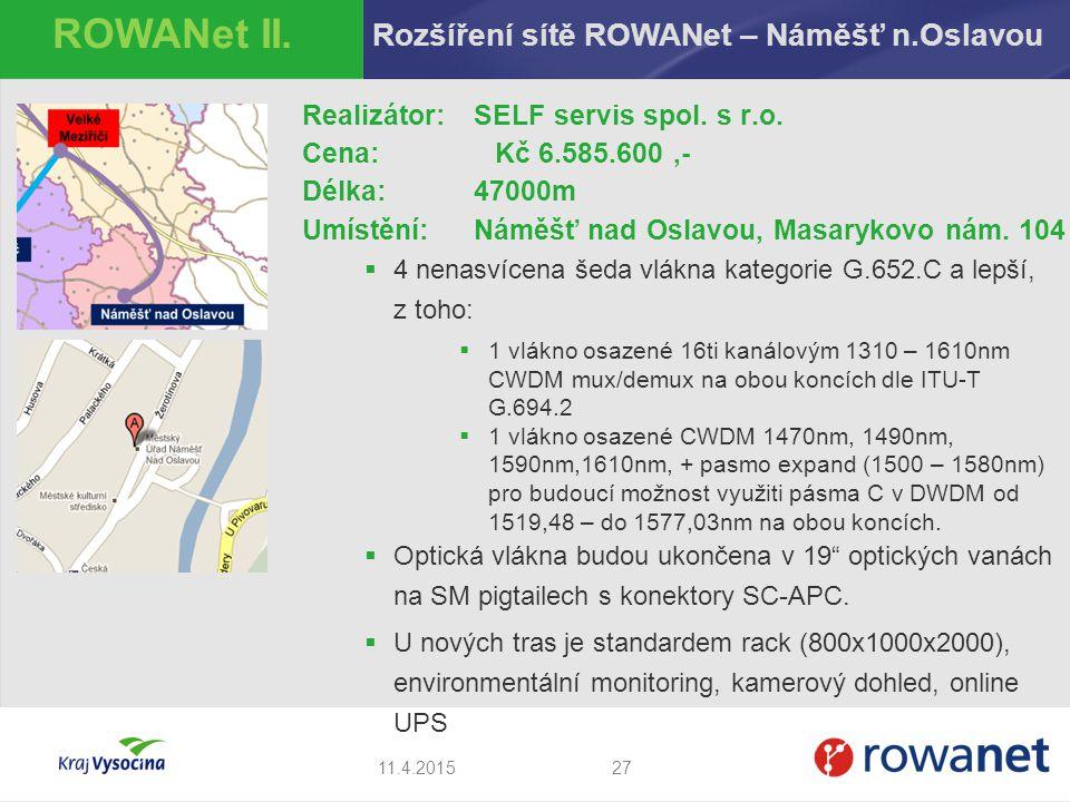 ROWANet II. Rozšíření sítě ROWANet – Náměšť n.Oslavou