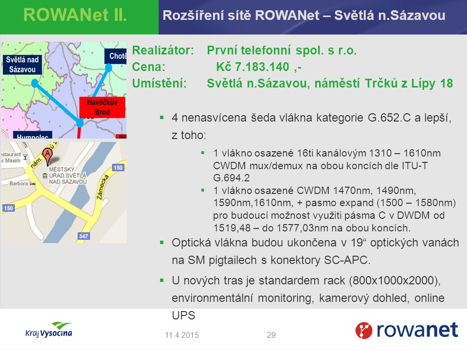 ROWANet II. Rozšíření sítě ROWANet – Světlá n.Sázavou
