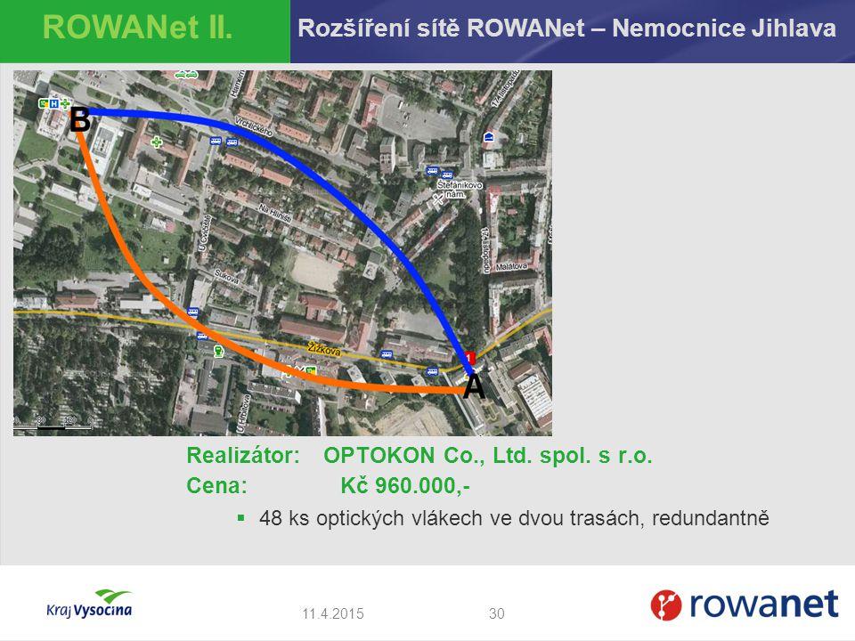ROWANet II. Rozšíření sítě ROWANet – Nemocnice Jihlava