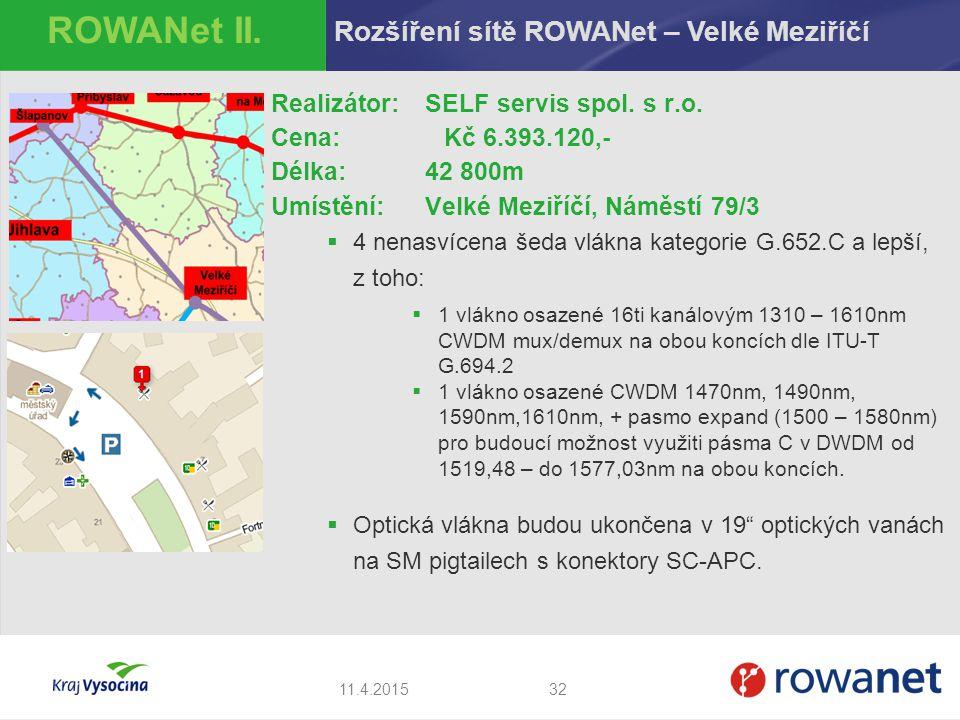 ROWANet II. Rozšíření sítě ROWANet – Velké Meziříčí