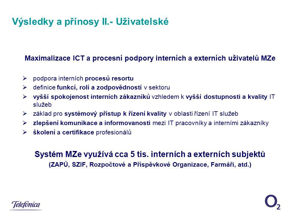 Výsledky a přínosy II.- Uživatelské
