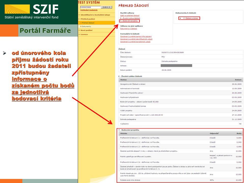 Portál Farmáře od únorového kola příjmu žádostí roku 2011 budou žadateli zpřístupněny informace o získaném počtu bodů za jednotlivá bodovací kritéria.