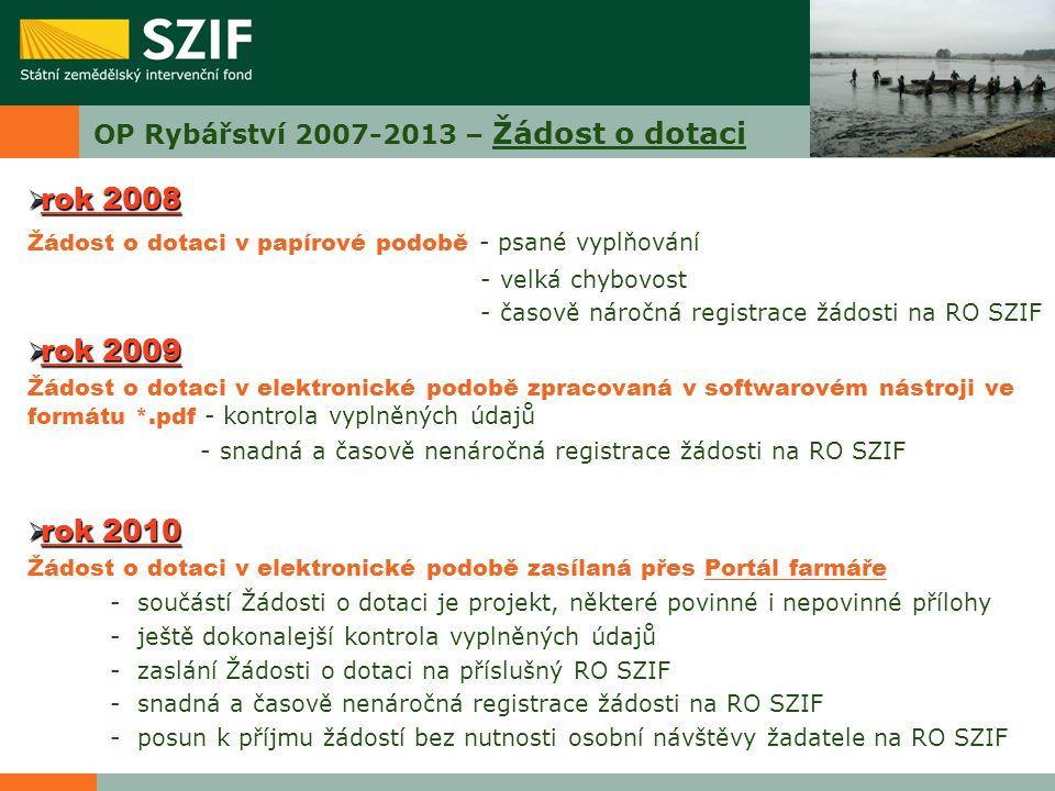 OP Rybářství 2007-2013 – Žádost o dotaci